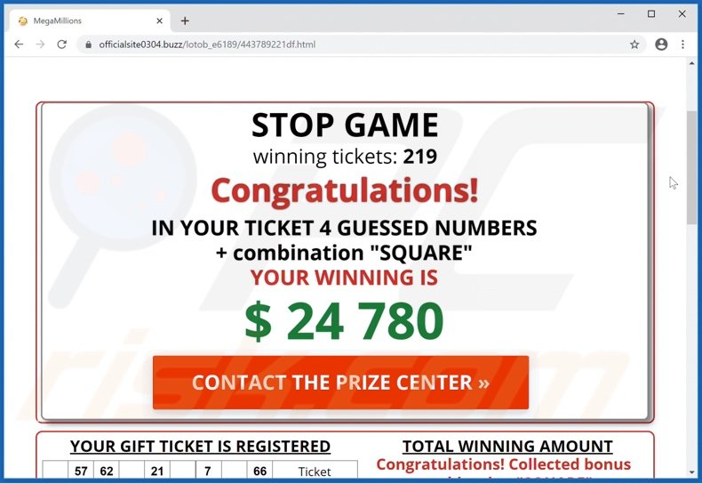 International Official Lottery scam claiming users have won
