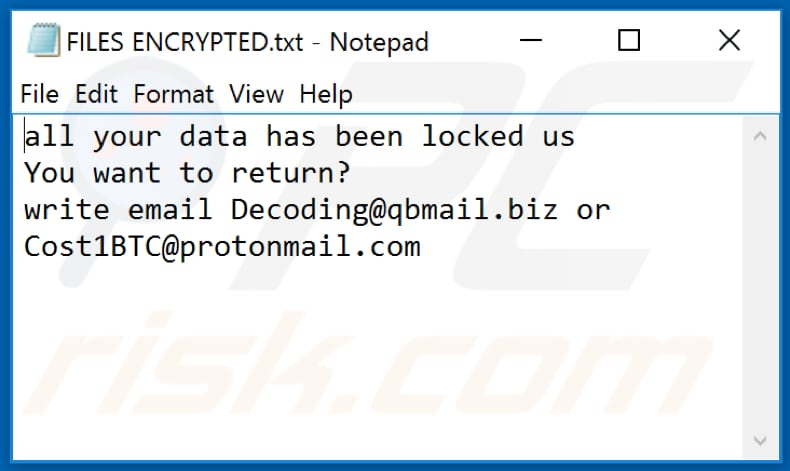 IPM ransomware text file (FILES ENCRYPTED.txt)