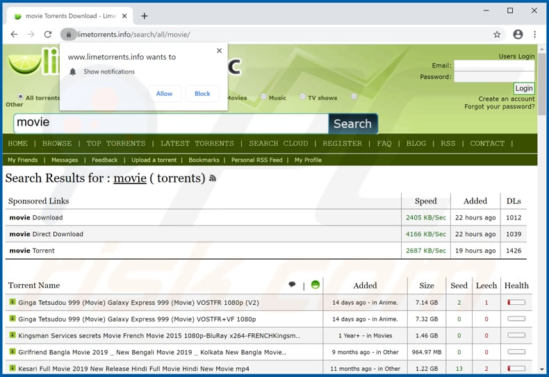 limetorrents[.]info pop-up redirects