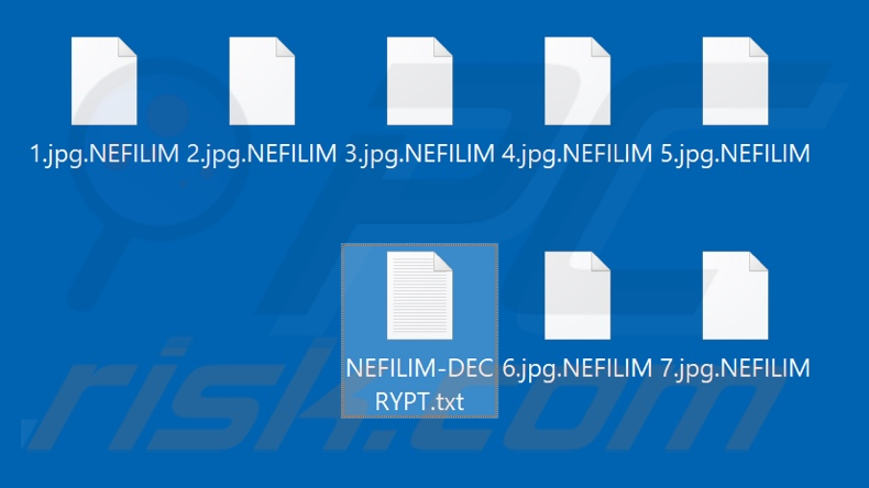 Files encrypted by NEFILIM ransomware (.NEFILIM extension)