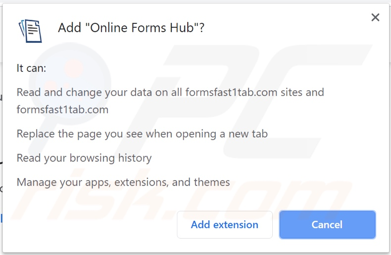Online Forms Hub browser hijacker asking for permissions