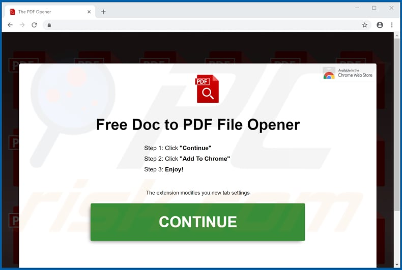 Website used to promote PDF Opener browser hijacker