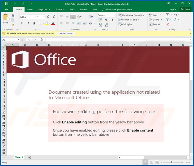 Malicious Excel document used to inject Qakbot trojan