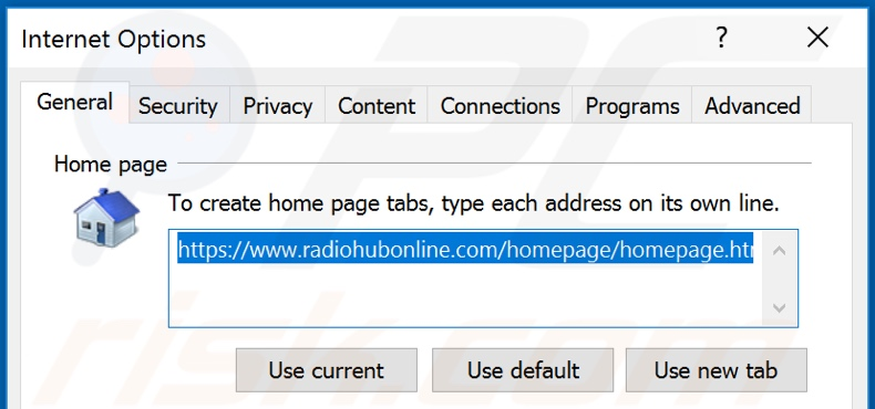 Removing radiohubonline.com from Internet Explorer homepage