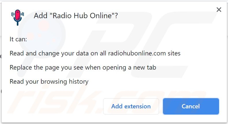 Radio Hub Online browser hijacker asking for permissions