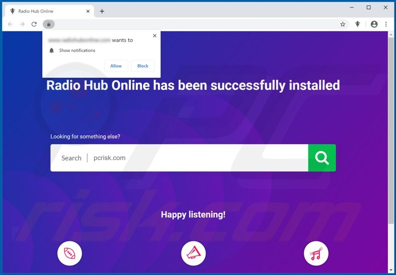 Radio Hub Online browser hijacker promoter page displayed after installation