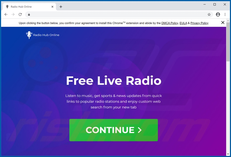 Website used to promote Radio Hub Online browser hijacker