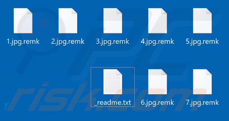 Files encrypted by Remk ransomware (.remk extension)