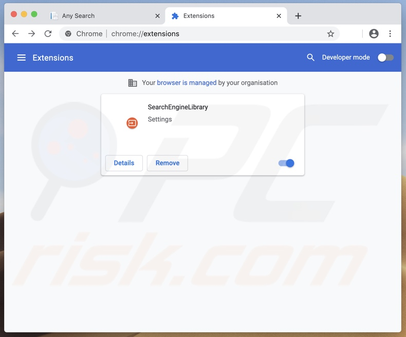 SearchEngineLibrary browser hijacker (search.adjustablesample.com) installed on Chrome
