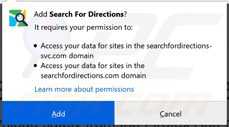search for directions browser hijacker asks for a permission to be installed