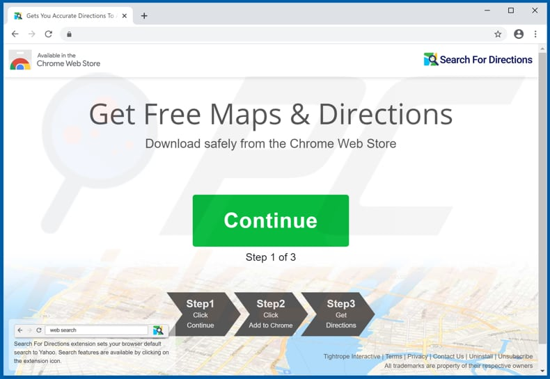 Website used to promote Search For Directions browser hijacker