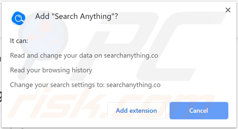 searchanything asks for a permission to be installed on chrome