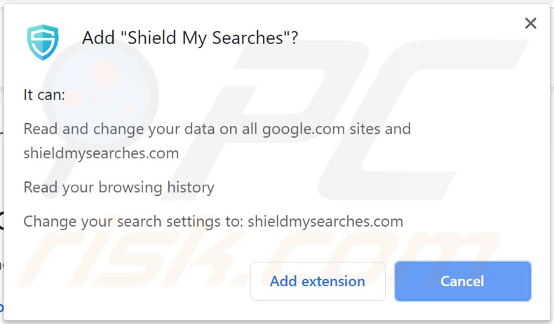 shield my searches browser hijacker asks for a permission to be installed