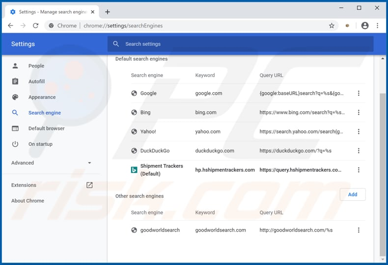 Removing hp.hshipmentrackers.com from Google Chrome default search engine