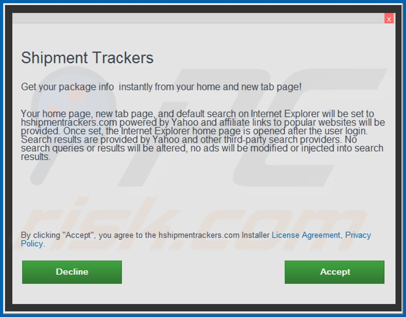 Official Shipment Trackers browser hijacker installation setup