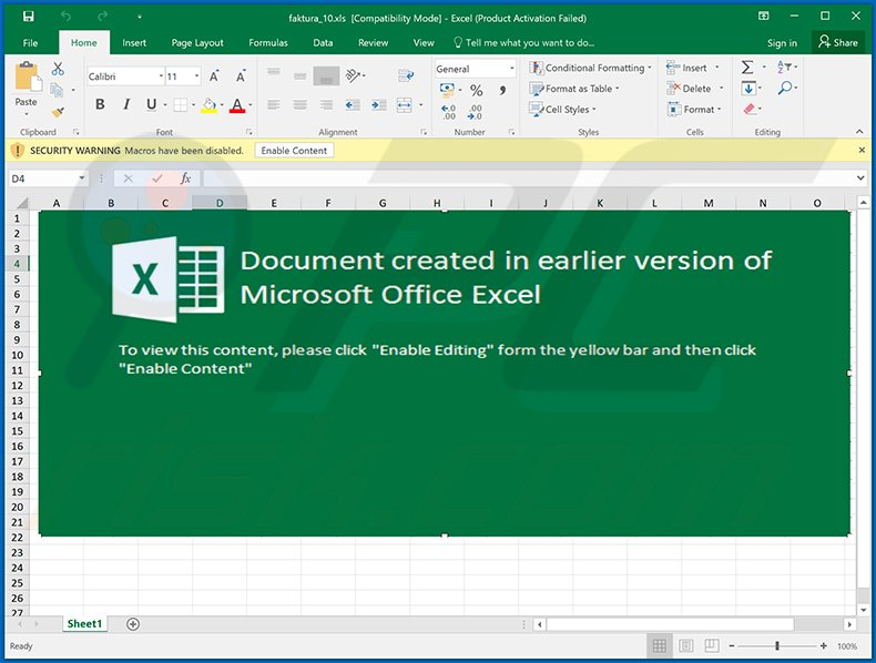 Malicious MS Excel document used to inject Ursnif trojan into the system