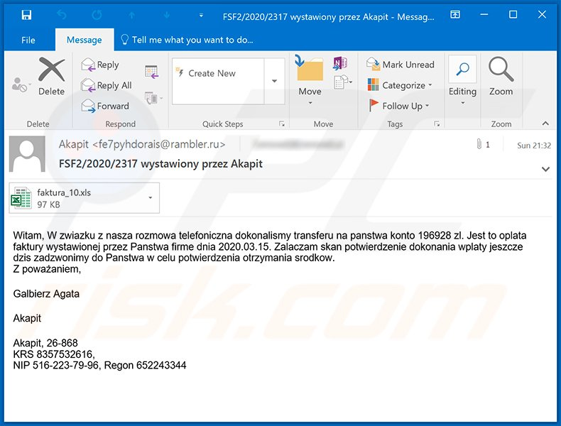 Polish spam email used to spread Ursnif trojan
