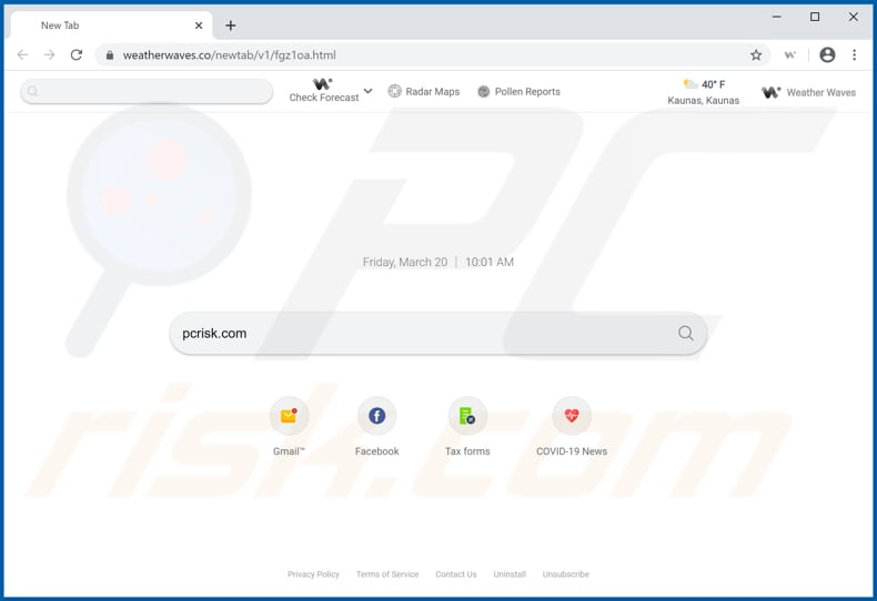 weatherwaves.co browser hijacker