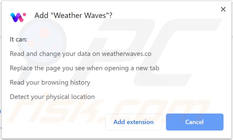 weather waves asks for a permission to be installed on chrome