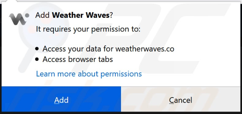 weather waves asks for a permission to be installed on firefox