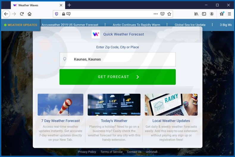 weather waves browser hijacker promoter on firefox