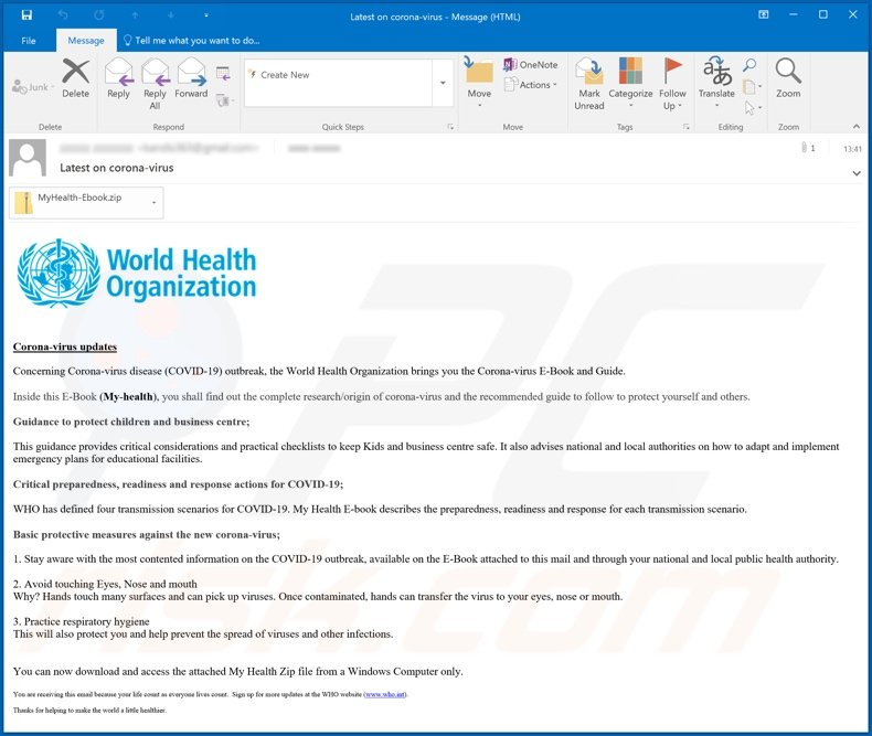 Fourth variant of World Health Organization (WHO) email