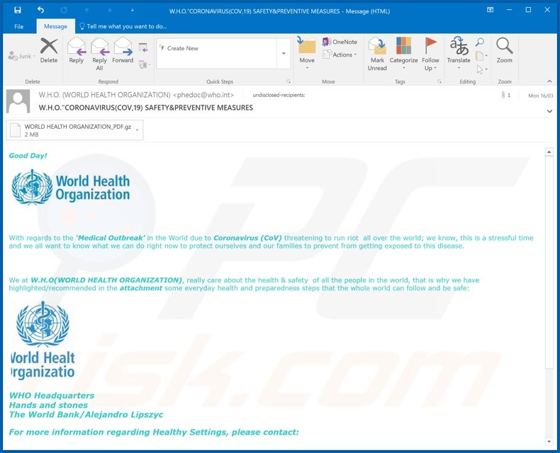 World Health Organization (WHO) email second variant