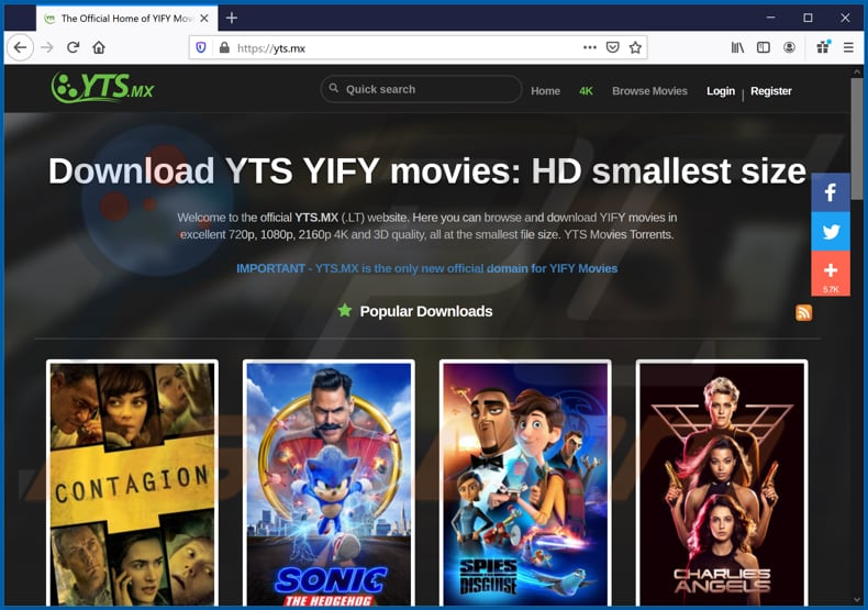 yts[.]mx pop-up redirects