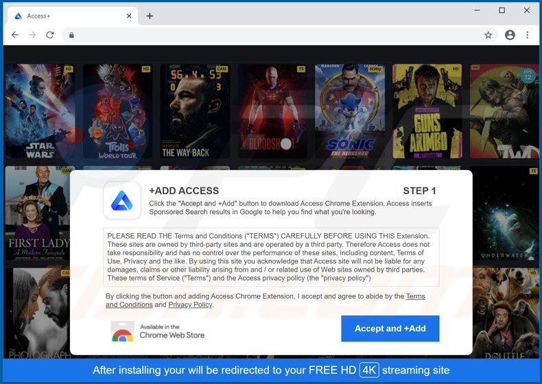 Website used to promote Access+ adware