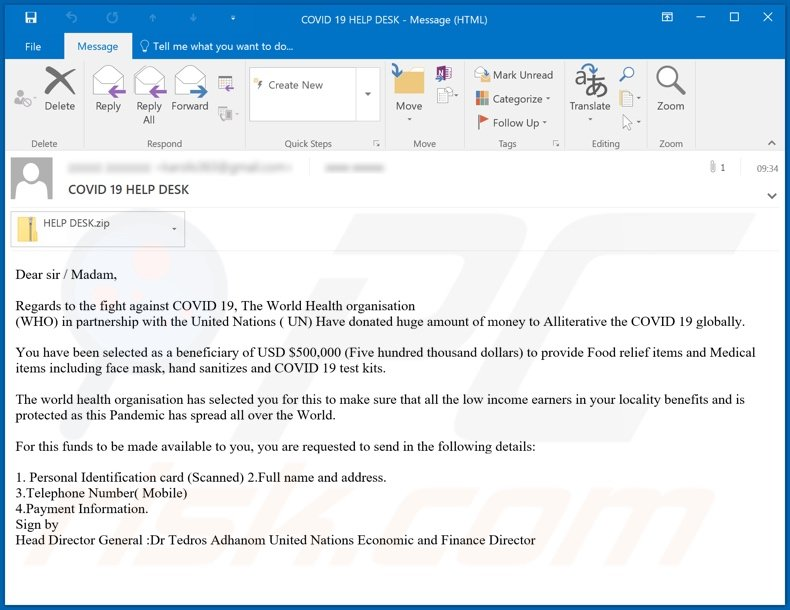COVID 19 HELP DESK Email Virus malware-spreading email spam campaign