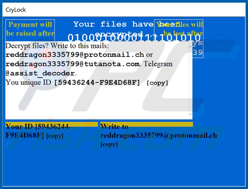 Pop-up window displayed by CryLock ransomware