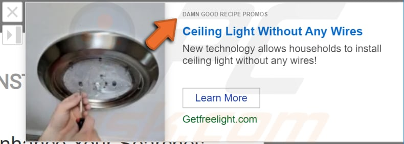 damn good recipe promos adware advertisement