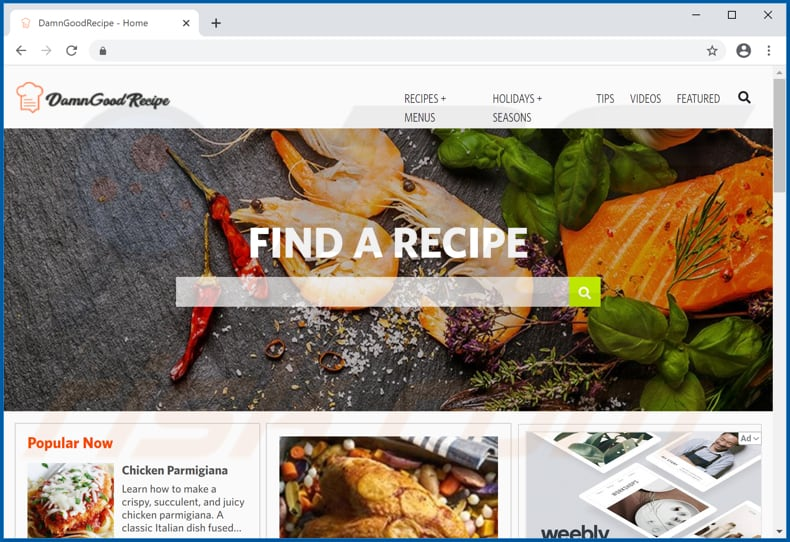 damn good recipe promos adware download page
