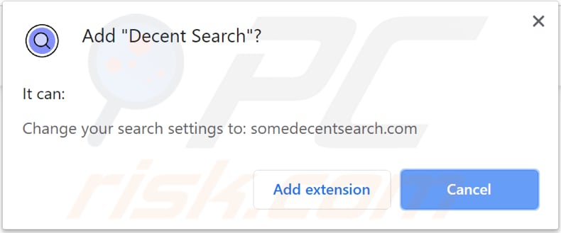 decent search browser hijacker asks for a permission to be installed