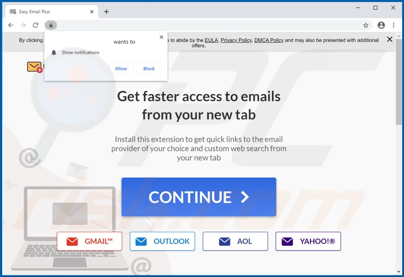 Website used to promote Easy Email Plus browser hijacker