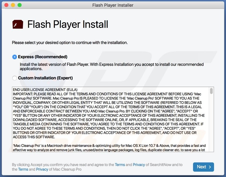 ExpertProjectSearch adware proliferated using fake Flash Player updater/installer