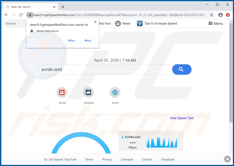 search.hgetspeedtestfast.com browser hijacker