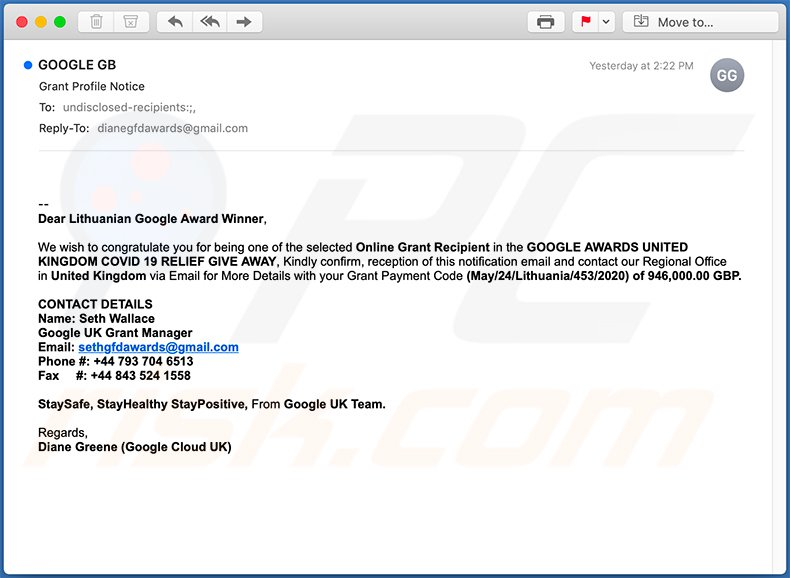 Google Winner scam email (2020-05-25)