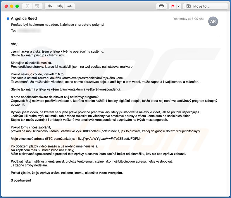 Hacker Who Has Access To Your Operating System scam email in Czech language
