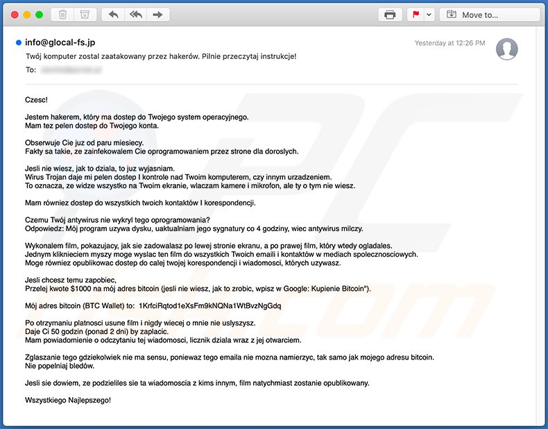 Hacker Who Has Access To Your Operating System scam email in Polish language