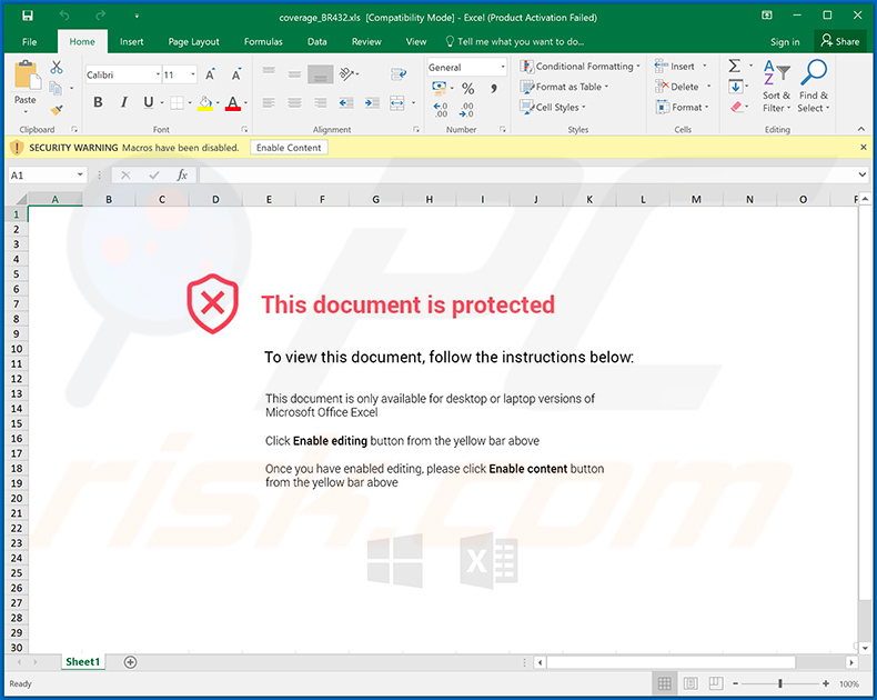 Malicious MS Excel document distributed via fake Humana Inc. emails