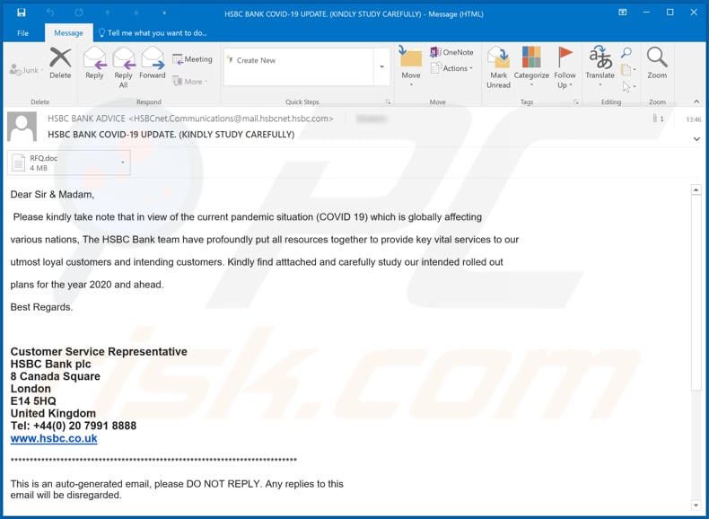 HSBC Bank Covid-19 Update malware-spreading email spam campaign