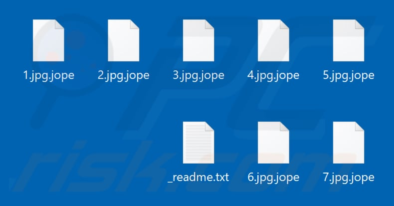 Files encrypted by Jope ransomware (.jope extension)