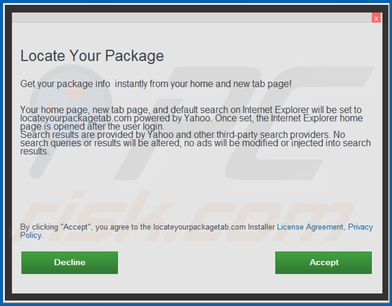 Official Locate Your Package browser hijacker installation setup