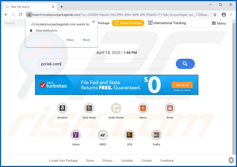 locateyourpackagetab.com browser hijacker