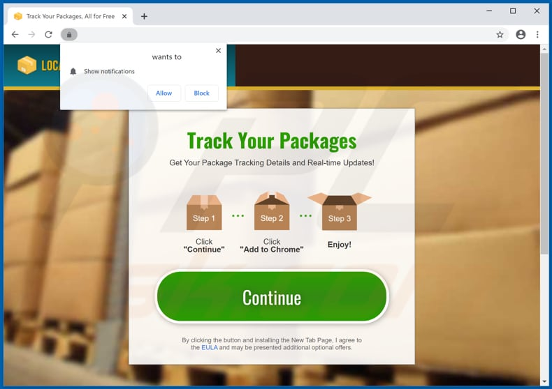 Website used to promote Locate Your Package browser hijacker