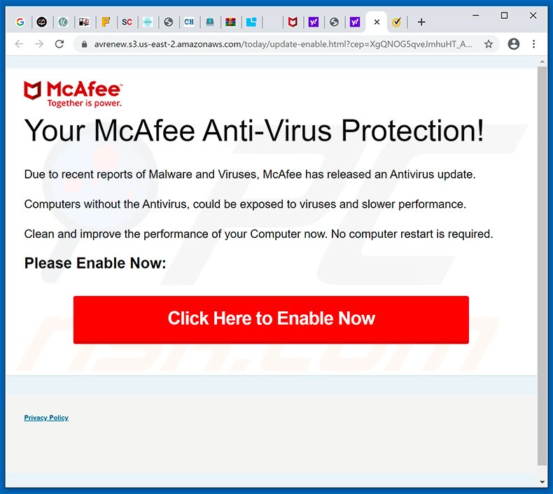 Your McAfee Subscription Has Expired pop-up scam (2020-04-23)