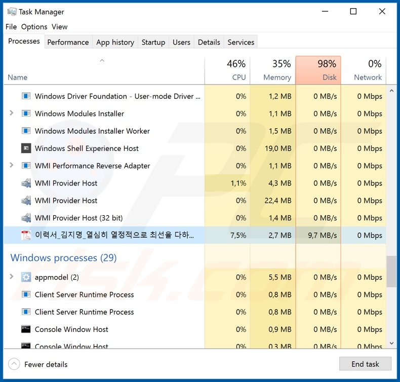 NEMTY REVENUE 3.1 ransomware process on task manager