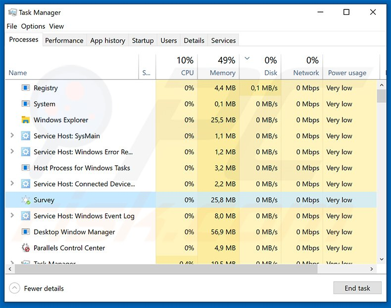 PremierOpinion Surveys adware process in Windows Task Manager