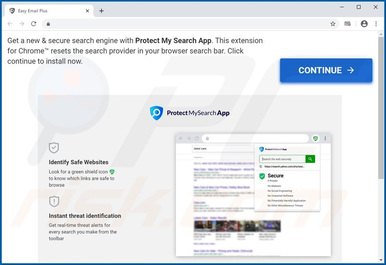 Website used to promote Protect My Search App browser hijacker